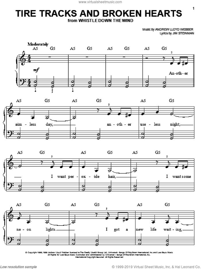 Tire Tracks And Broken Hearts sheet music for piano solo by Andrew Lloyd Webber, Bonnie Tyler and Jim Steinman, easy skill level