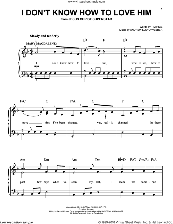 I Don't Know How To Love Him sheet music for piano solo by Andrew Lloyd Webber, Helen Reddy, Jesus Christ Superstar (Musical), Yvonne Elliman and Tim Rice, beginner skill level