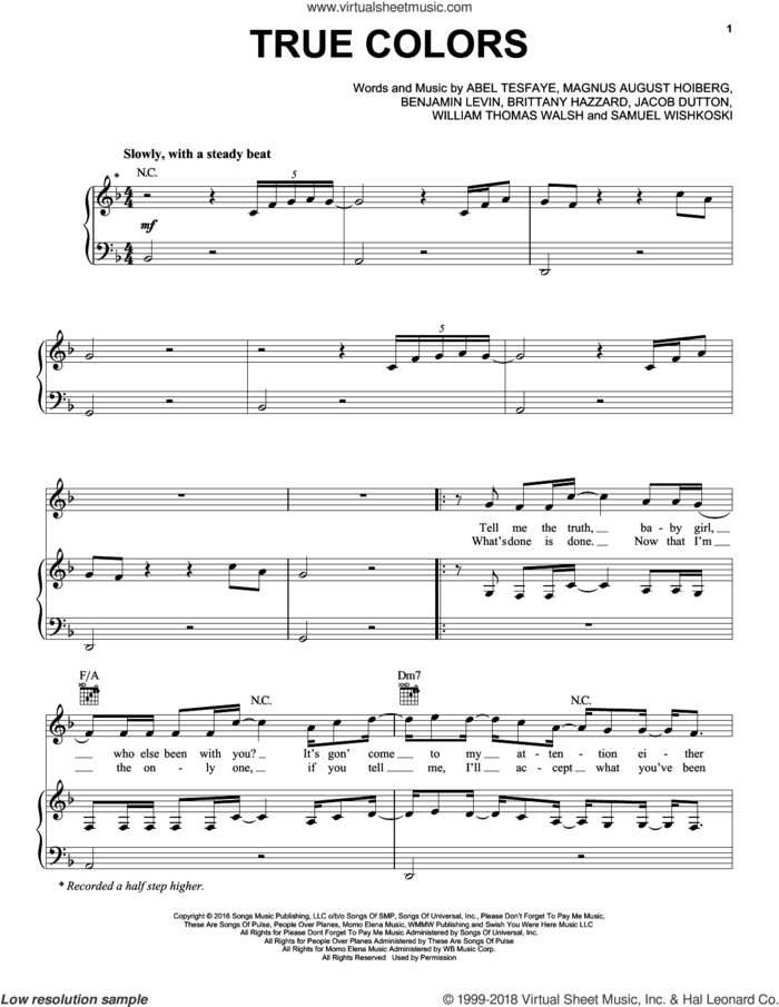True Colors sheet music for voice, piano or guitar by The Weeknd, Abel Tesfaye, Benjamin Levin, Brittany Hazzard, Jacob Dutton, Magnus August Hoiberg, Samuel Wishkoski and William Thomas Walsh, intermediate skill level