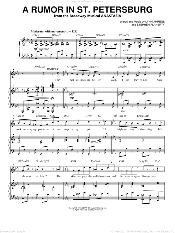A Rumor In St. Petersburg sheet music for voice and piano by Stephen Flaherty and Lynn Ahrens, intermediate skill level