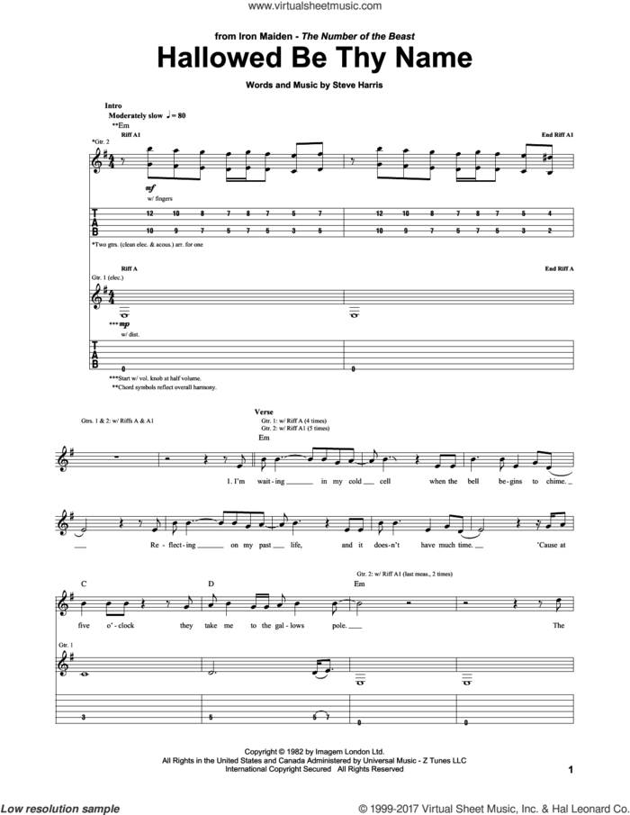 Hallowed Be Thy Name sheet music for guitar (tablature) by Iron Maiden and Steve Harris, intermediate skill level