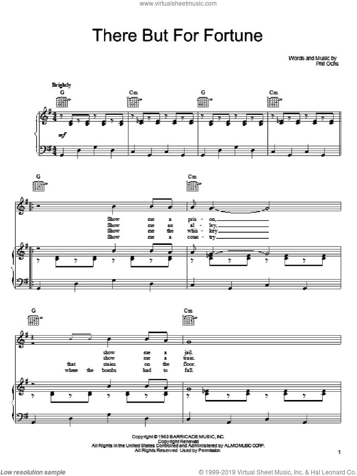 There But For Fortune sheet music for voice, piano or guitar by Phil Ochs and Joan Baez, intermediate skill level