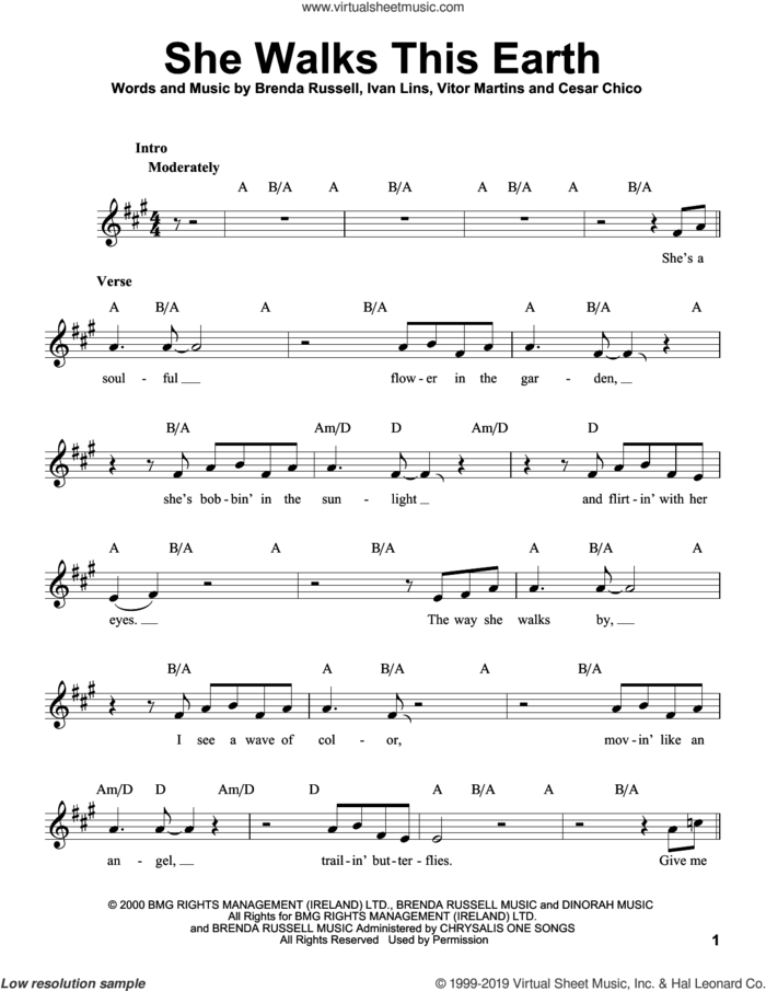 She Walks This Earth sheet music for voice solo by Sting, Brenda Russell, Cesar Chico, Ivan Lins and Vitor Martins, intermediate skill level