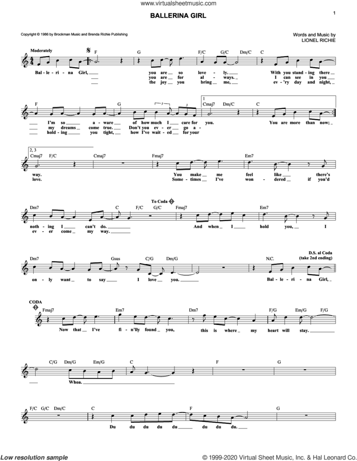 Ballerina Girl sheet music for voice and other instruments (fake book) by Lionel Richie, intermediate skill level