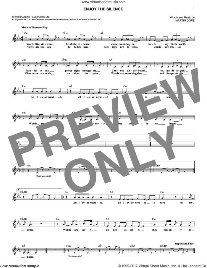 Enjoy The Silence sheet music for voice and other instruments (fake book) by Depeche Mode, Lacuna Coil and Martin Gore, intermediate skill level