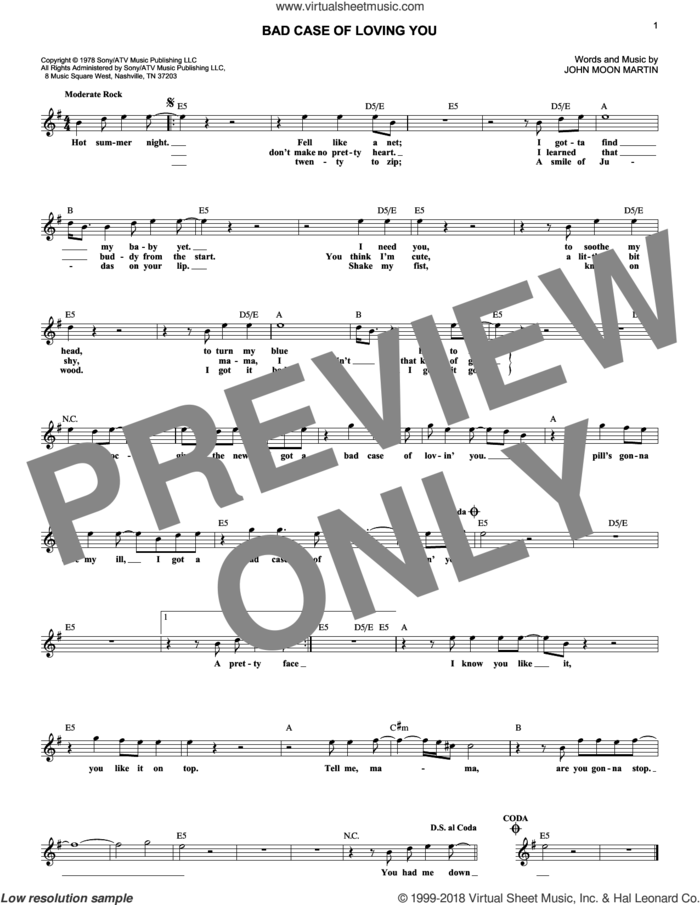 Bad Case Of Loving You sheet music for voice and other instruments (fake book) by Robert Palmer and John Moon Martin, intermediate skill level