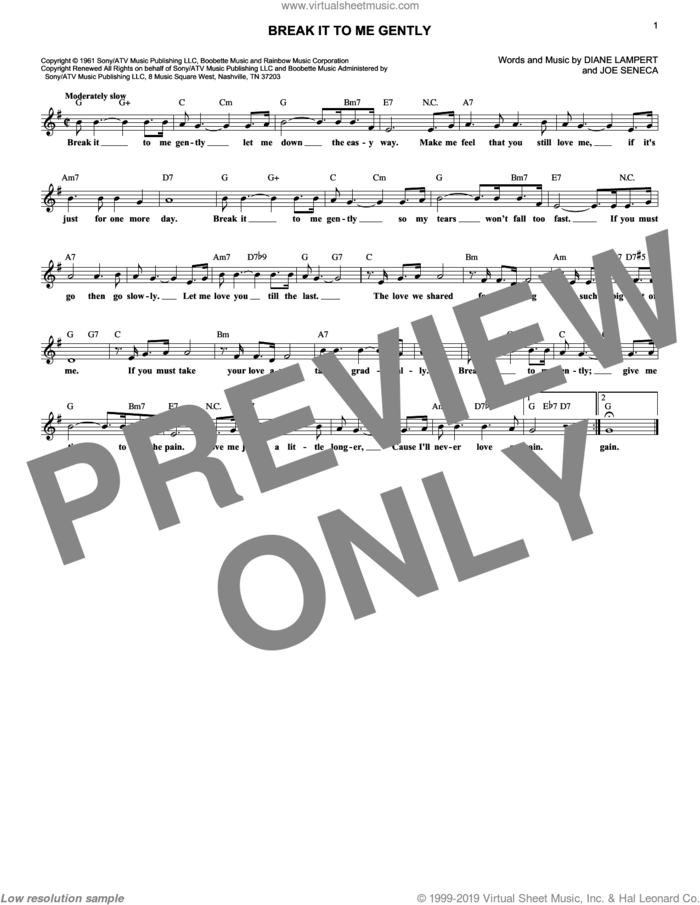 Break It To Me Gently sheet music for voice and other instruments (fake book) by Brenda Lee, Juice Newton, Diane Lampert and Joe Seneca, intermediate skill level