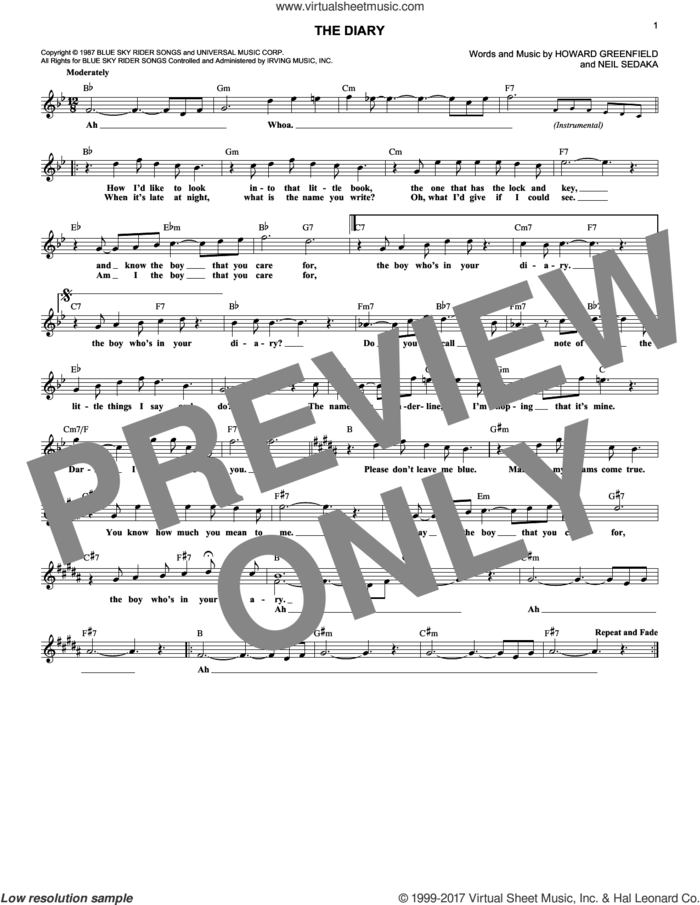 The Diary sheet music for voice and other instruments (fake book) by Neil Sedaka and Howard Greenfield, intermediate skill level