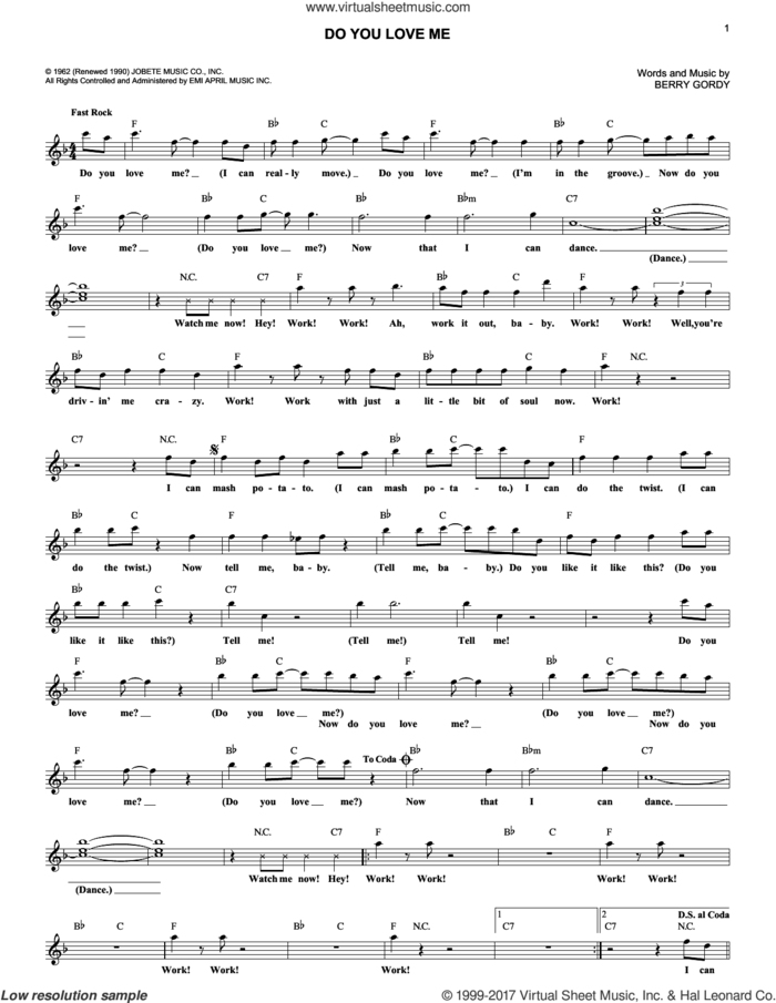 Do You Love Me sheet music for voice and other instruments (fake book) by The Contours, The Dave Clark Five and Berry Gordy Jr., intermediate skill level