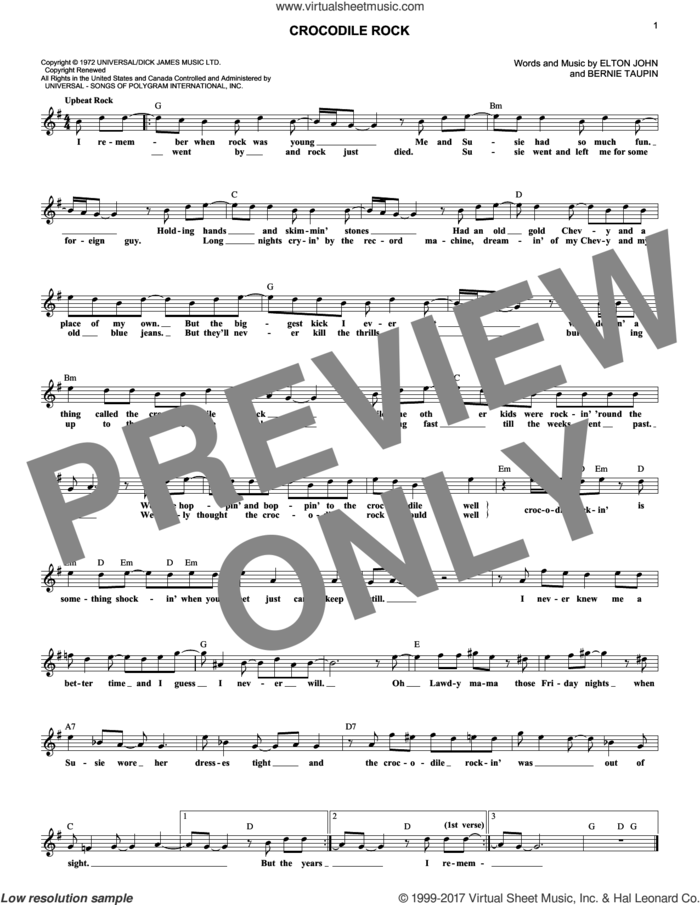 Crocodile Rock sheet music for voice and other instruments (fake book) by Elton John and Bernie Taupin, intermediate skill level