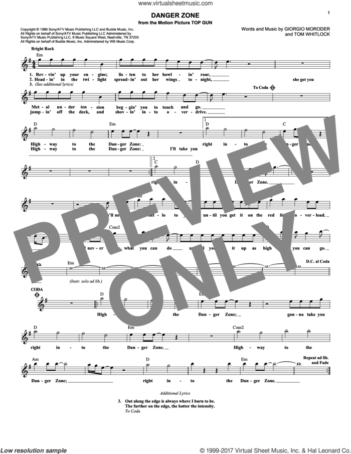 Danger Zone sheet music for voice and other instruments (fake book) by Kenny Loggins, Giorgio Moroder and Tom Whitlock, intermediate skill level