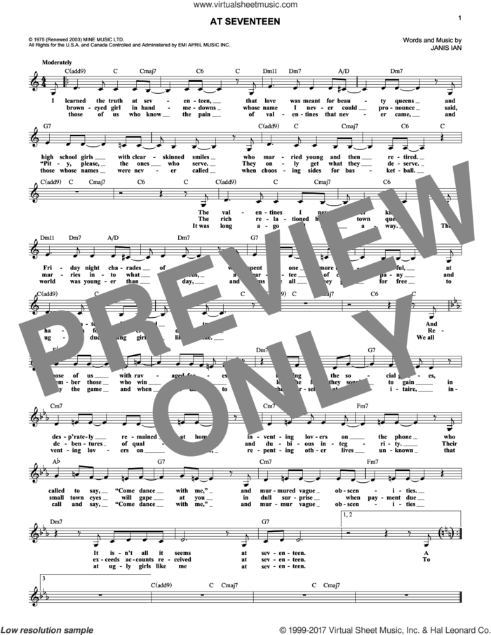 At Seventeen sheet music for voice and other instruments (fake book) by Janis Ian, intermediate skill level