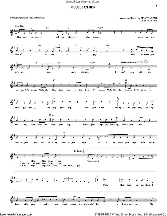 Bluejean Bop sheet music for voice and other instruments (fake book) by Paul McCartney, Gene Vincent and Hal Levy, intermediate skill level