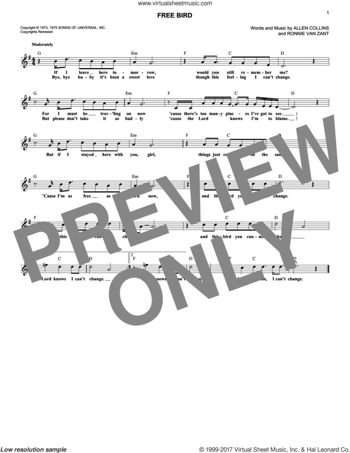 Free Bird sheet music for voice and other instruments (fake book) by Lynyrd Skynyrd, Allen Collins and Ronnie Van Zant, intermediate skill level