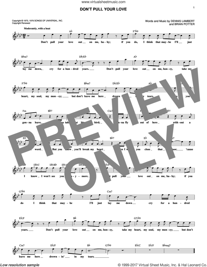Don't Pull Your Love sheet music for voice and other instruments (fake book) by Hamilton, Joe Frank & Reynolds, Brian Potter and Dennis Lambert, intermediate skill level