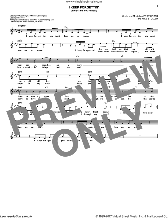 I Keep Forgettin' (Every Time You're Near) sheet music for voice and other instruments (fake book) by Michael McDonald, Jerry Leiber and Mike Stoller, intermediate skill level