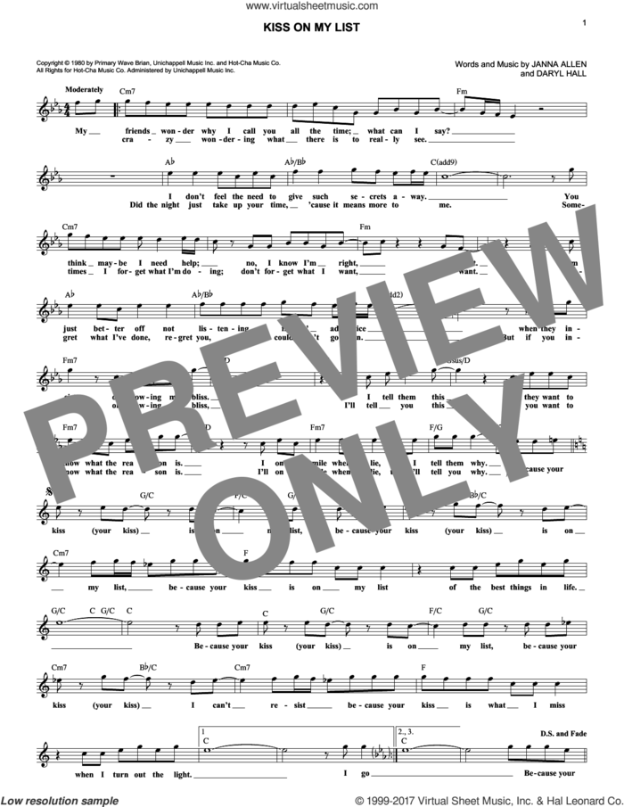Kiss On My List sheet music for voice and other instruments (fake book) by Daryl Hall & John Oates, Hall and Oates, Daryl Hall and Janna Allen, intermediate skill level