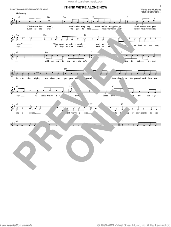 I Think We're Alone Now sheet music for voice and other instruments (fake book) by Tiffany, Tommy James And The Shondells and Ritchie Cordell, intermediate skill level