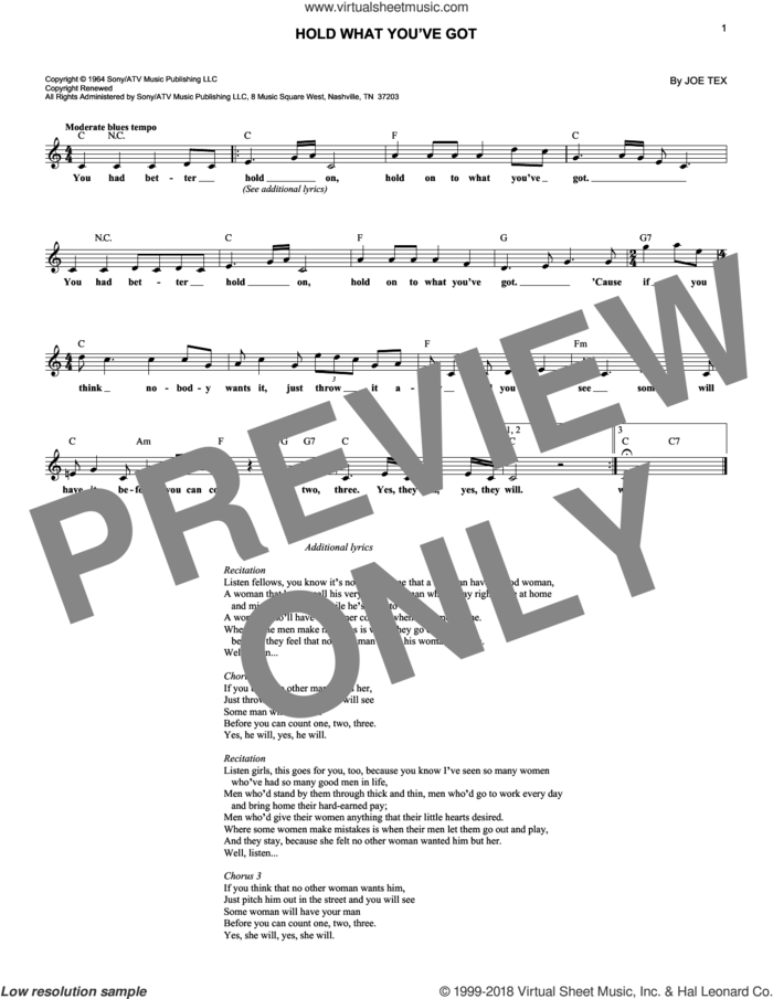 Hold What You've Got sheet music for voice and other instruments (fake book) by Joe Tex, intermediate skill level