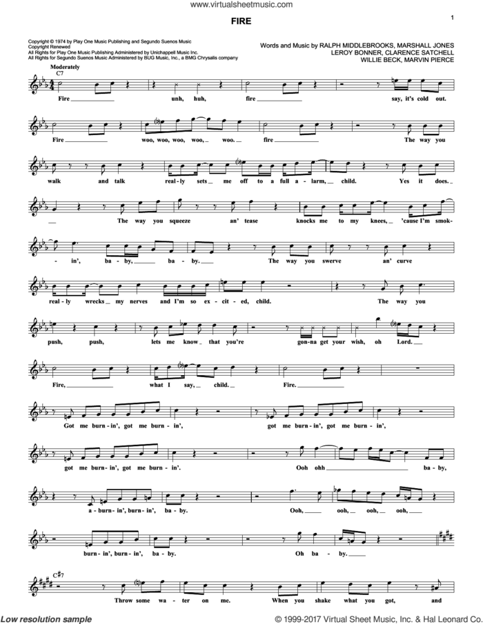Fire sheet music for voice and other instruments (fake book) by Ohio Players, Clarence Satchell, Leroy Bonner, Marshall Jones, Marvin Pierce, Ralph Middlebrooks and Willie Beck, intermediate skill level
