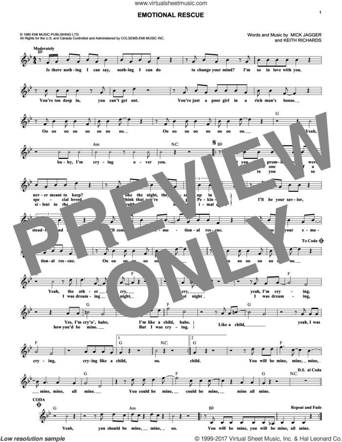 Emotional Rescue sheet music for voice and other instruments (fake book) by The Rolling Stones, Keith Richards and Mick Jagger, intermediate skill level