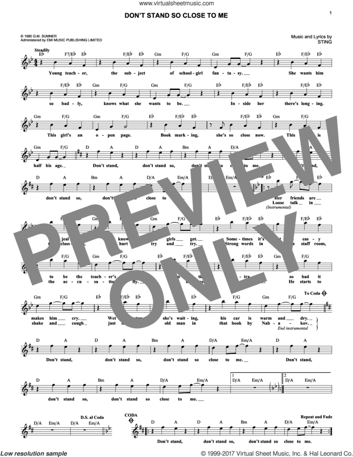 Don't Stand So Close To Me sheet music for voice and other instruments (fake book) by The Police and Sting, intermediate skill level