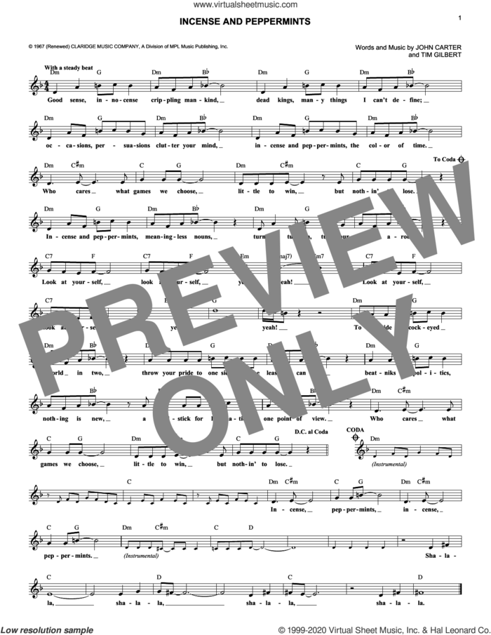 Incense And Peppermints sheet music for voice and other instruments (fake book) by Strawberry Alarm Clock, John Carter and Tim Gilbert, intermediate skill level