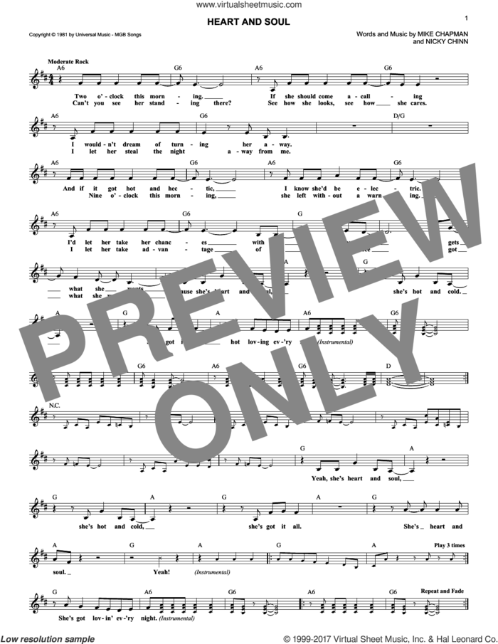 Heart And Soul sheet music for voice and other instruments (fake book) by Huey Lewis, Mike Chapman and Nicky Chinn, intermediate skill level