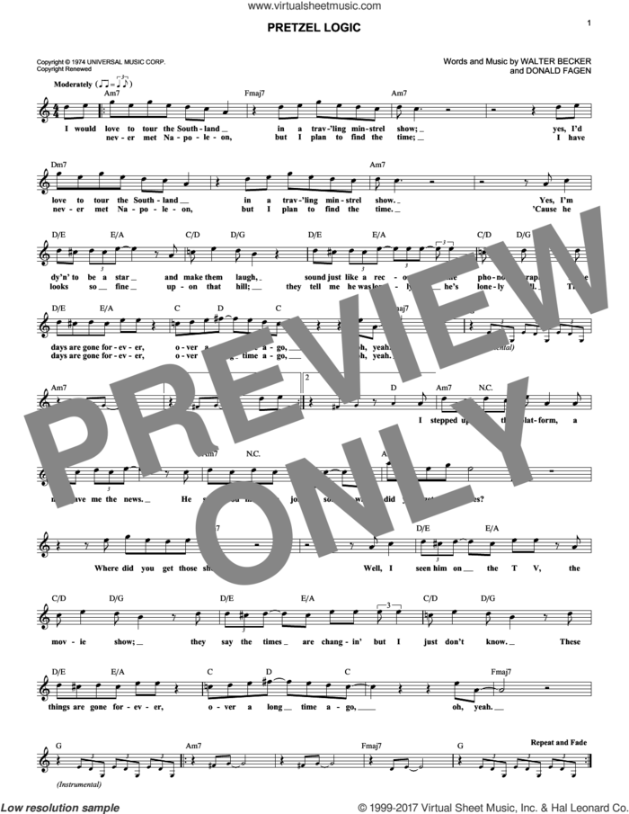 Pretzel Logic sheet music for voice and other instruments (fake book) by Steely Dan, Donald Fagen and Walter Becker, intermediate skill level