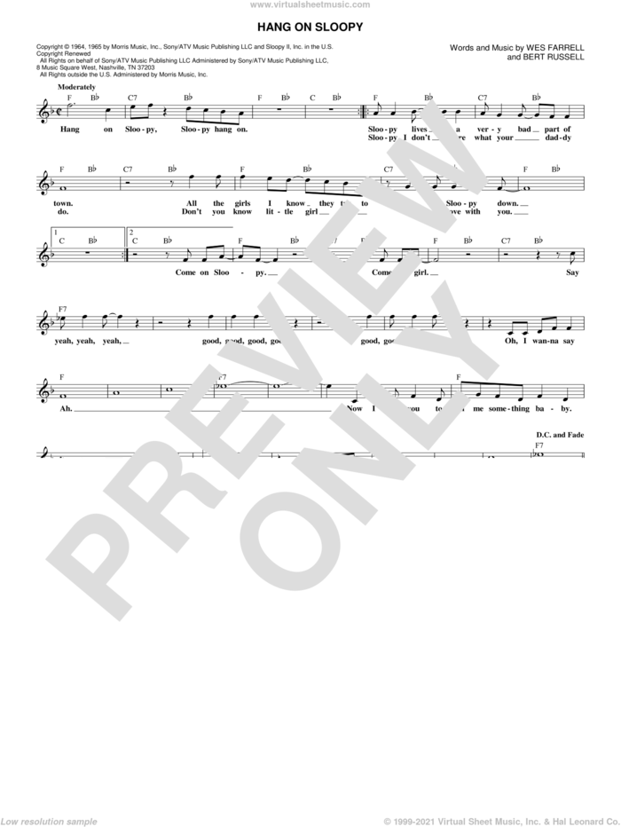Hang On Sloopy sheet music for voice and other instruments (fake book) by The McCoys, Bert Russell and Wes Farrell, intermediate skill level
