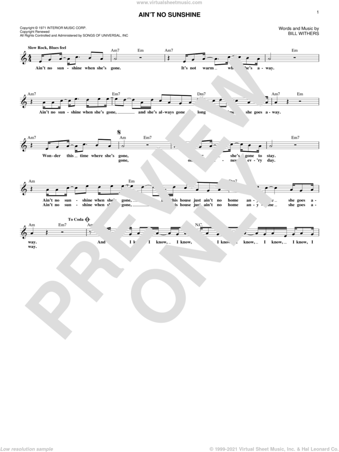Ain't No Sunshine sheet music for voice and other instruments (fake book) by Bill Withers and Kris Allen, intermediate skill level
