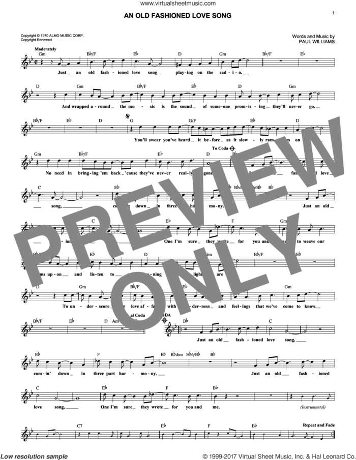 An Old Fashioned Love Song sheet music for voice and other instruments (fake book) by Three Dog Night and Paul Williams, intermediate skill level