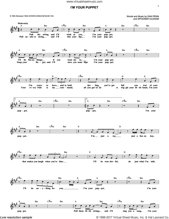 I'm Your Puppet sheet music for voice and other instruments (fake book) by James & Bobby Purify, Dan Penn and Spooner Oldham, intermediate skill level