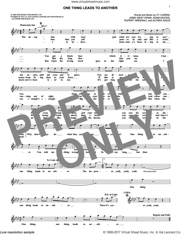 One Thing Leads To Another sheet music for voice and other instruments (fake book) by The Fixx, Adam Woods, Alfred Agius, Cy Curnin, Jamie West-Oram and Rupert Greenall, intermediate skill level