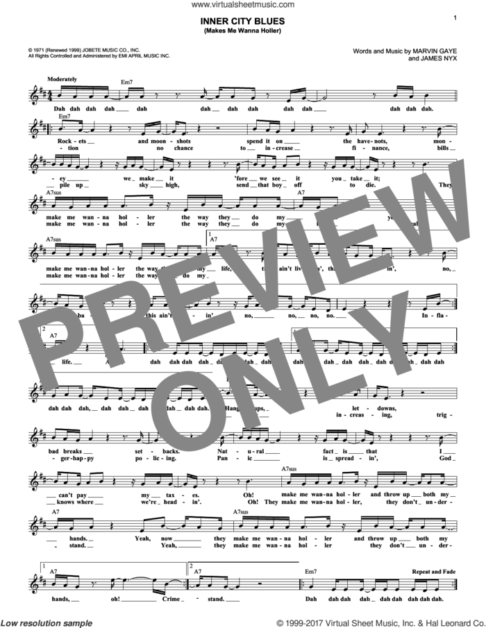 Inner City Blues (Make Me Wanna Holler) sheet music for voice and other instruments (fake book) by Marvin Gaye and James Nyx, intermediate skill level