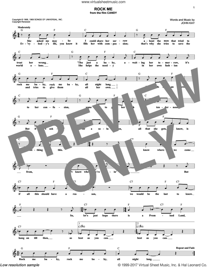 Rock Me sheet music for voice and other instruments (fake book) by Steppenwolf and John Kay, intermediate skill level
