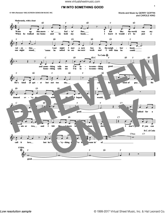 I'm Into Something Good sheet music for voice and other instruments (fake book) by Herman's Hermits, Carole King and Gerry Goffin, intermediate skill level