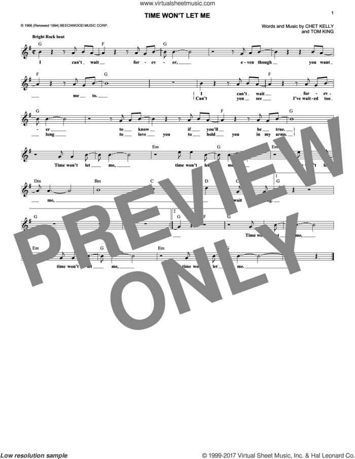 Time Won't Let Me sheet music for voice and other instruments (fake book) by The Outsiders, Chet Kelly and Tom King, intermediate skill level