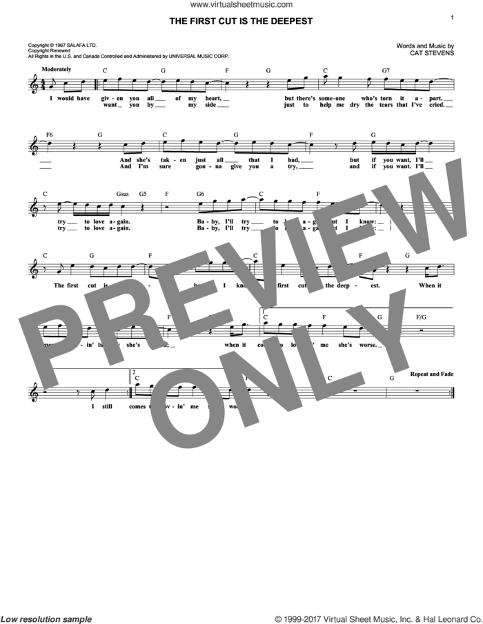 The First Cut Is The Deepest sheet music for voice and other instruments (fake book) by Cat Stevens, intermediate skill level