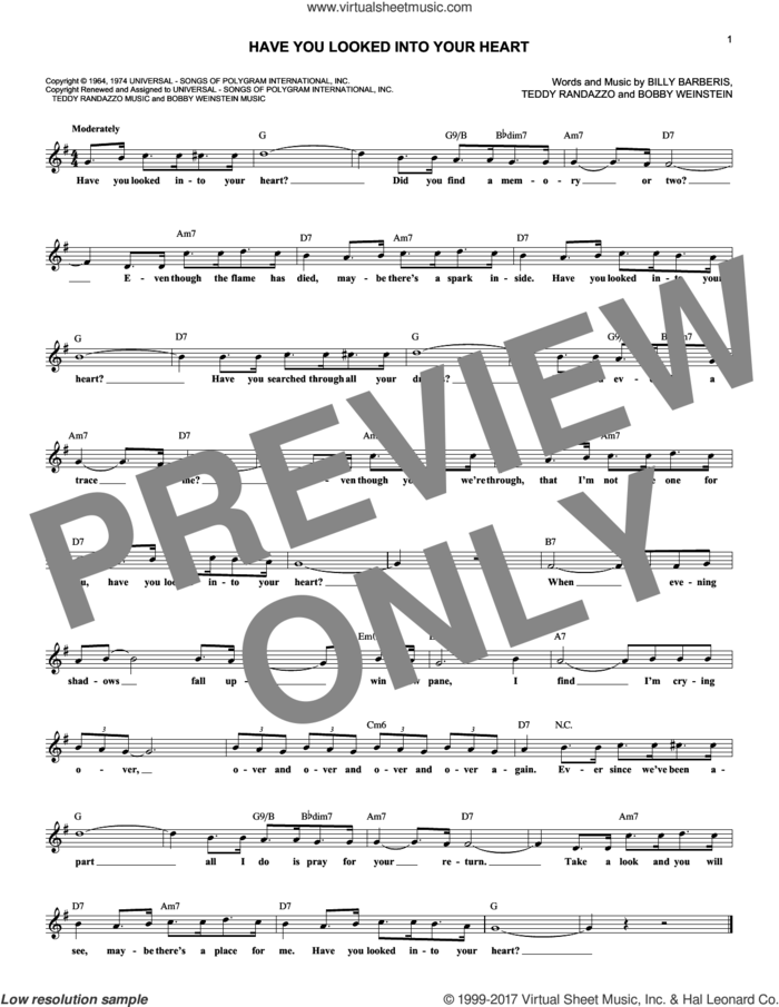 Have You Looked Into Your Heart sheet music for voice and other instruments (fake book) by Jerry Vale, Billy Barberis, Bobby Weinstein and Teddy Randazzo, wedding score, intermediate skill level