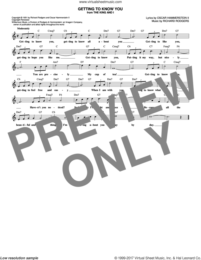 Getting To Know You sheet music for voice and other instruments (fake book) by Rodgers & Hammerstein, Oscar II Hammerstein and Richard Rodgers, intermediate skill level