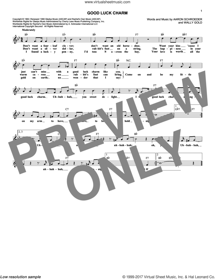 Good Luck Charm sheet music for voice and other instruments (fake book) by Elvis Presley, Aaron Schroeder and Wally Gold, intermediate skill level