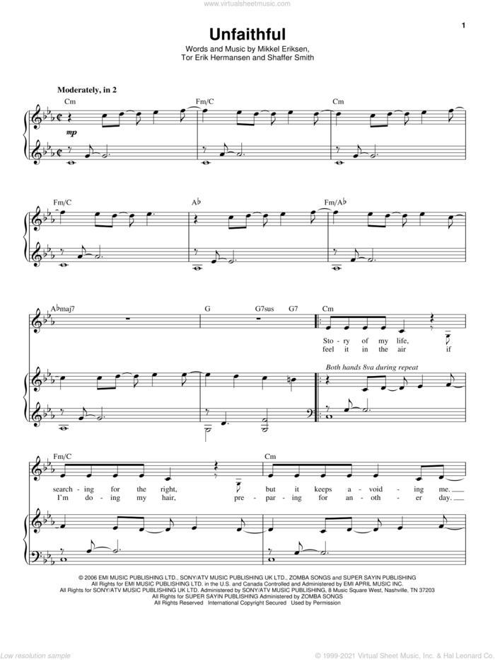 Unfaithful sheet music for voice and piano by Rihanna, Mikkel Eriksen, Shaffer Smith and Tor Erik Hermansen, intermediate skill level