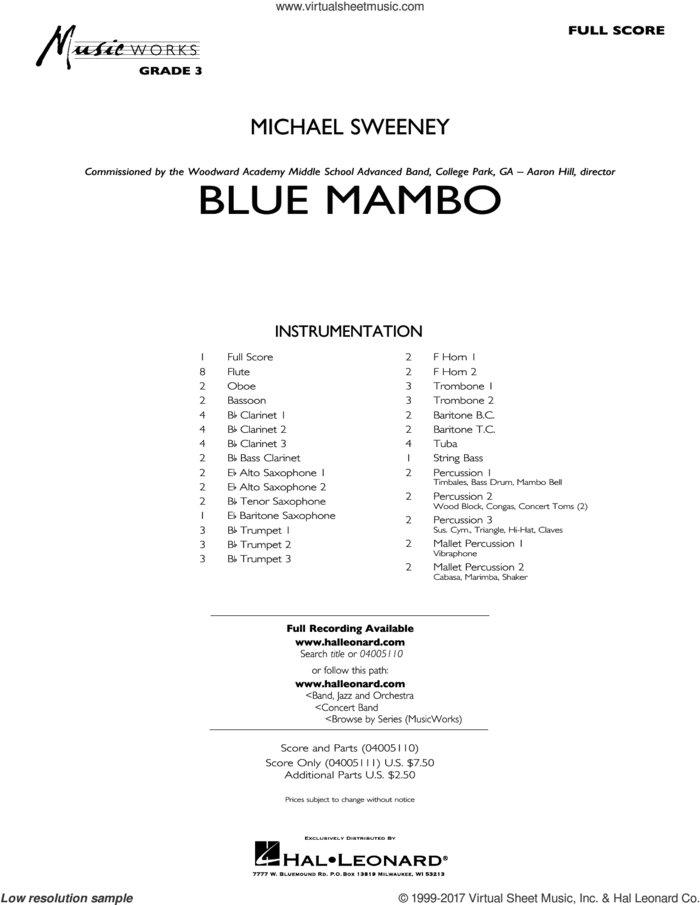 Blue Mambo (COMPLETE) sheet music for concert band by Michael Sweeney, intermediate skill level
