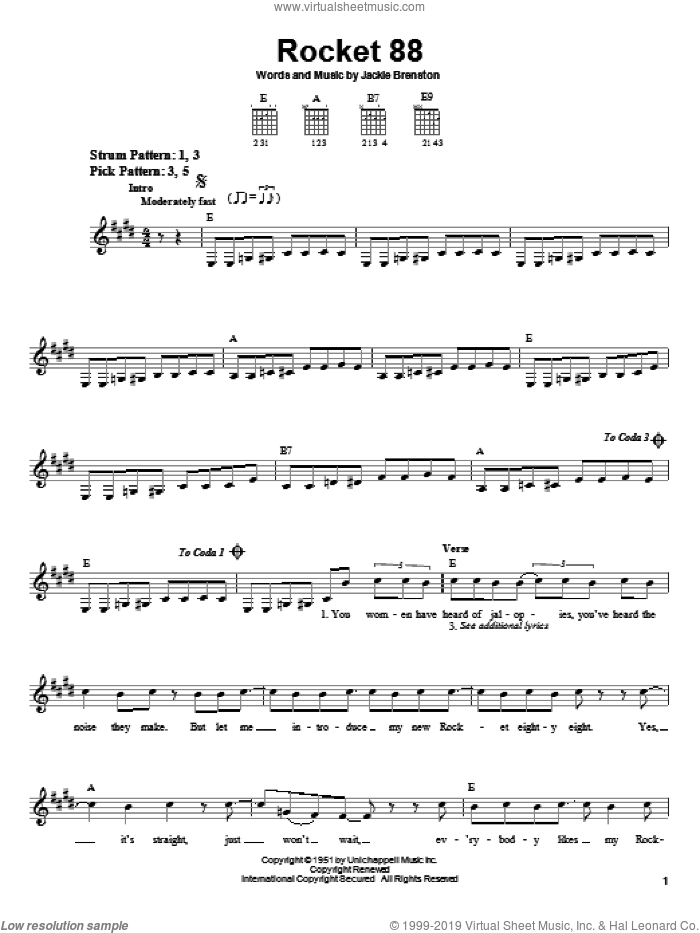 Rocket 88 sheet music for guitar solo (chords) by Jackie Brenston, easy guitar (chords)