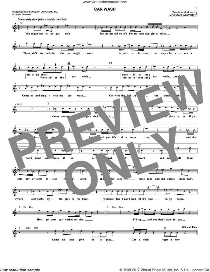 Car Wash sheet music for voice and other instruments (fake book) by Rose Royce and Norman Whitfield, intermediate skill level