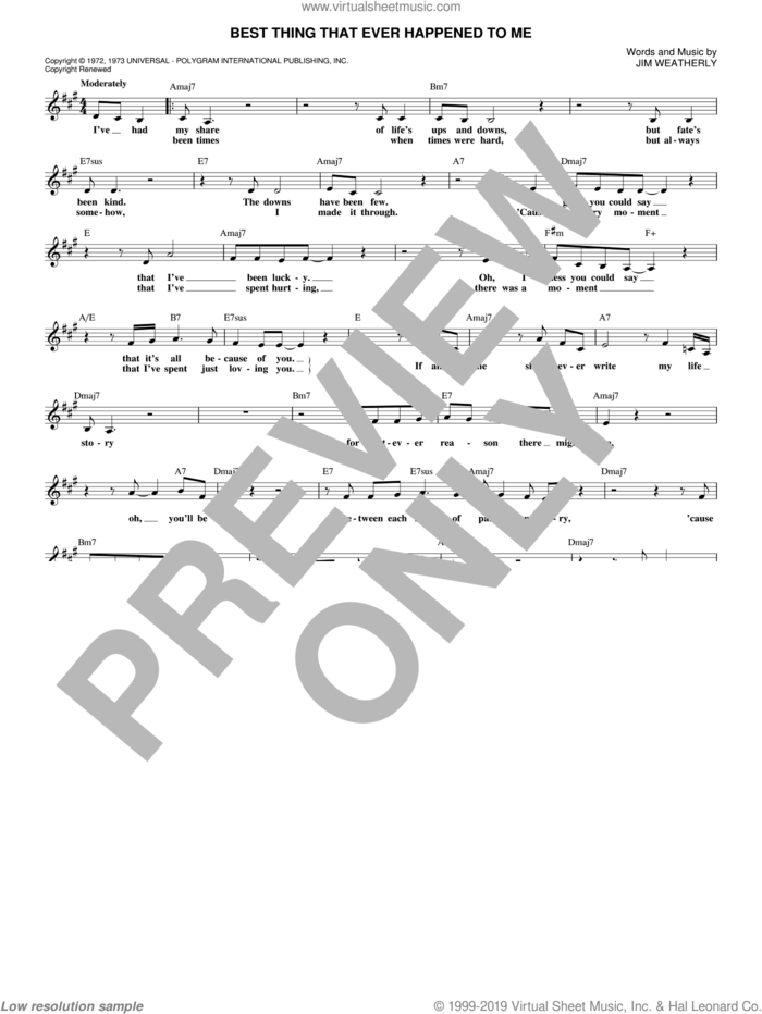 Best Thing That Ever Happened To Me sheet music for voice and other instruments (fake book) by Gladys Knight & The Pips, Persuaders, Ray Price and Jim Weatherly, intermediate skill level