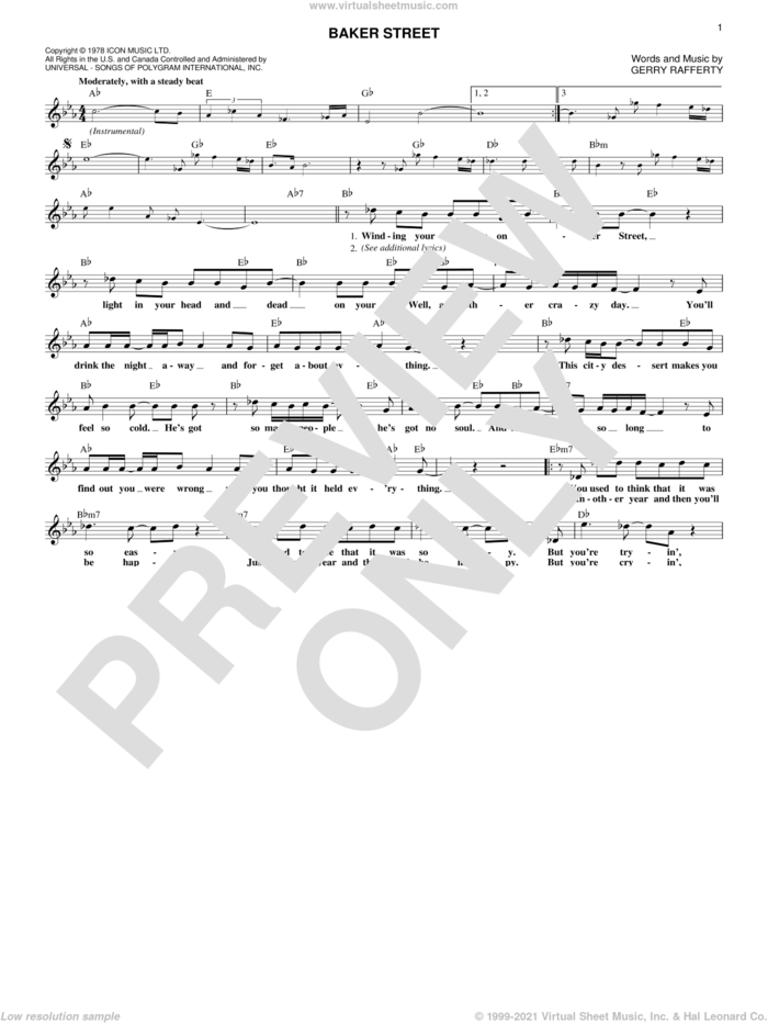 Baker Street sheet music for voice and other instruments (fake book) by Foo Fighters and Gerry Rafferty, intermediate skill level