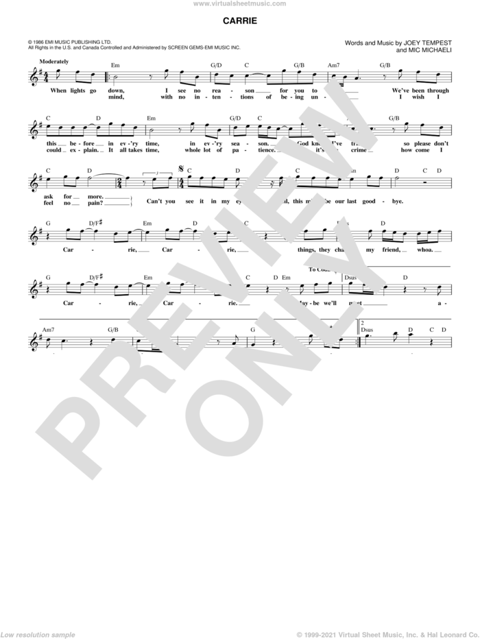 Carrie sheet music for voice and other instruments (fake book) by Joey Tempest and Mic Michaeli, intermediate skill level