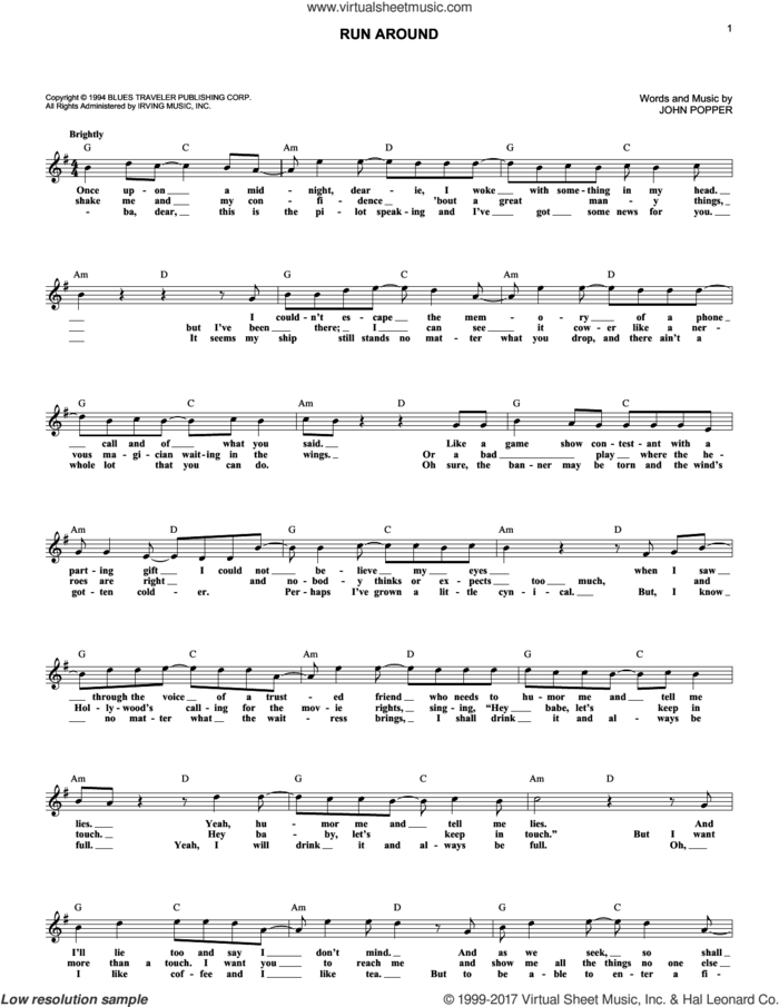 Run-Around sheet music for voice and other instruments (fake book) by Blues Traveler and John Popper, intermediate skill level